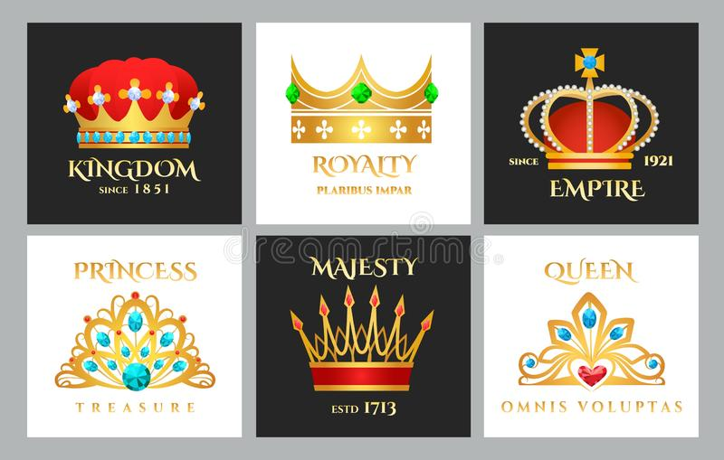 De reeks van het kroonembleem stock illustratie