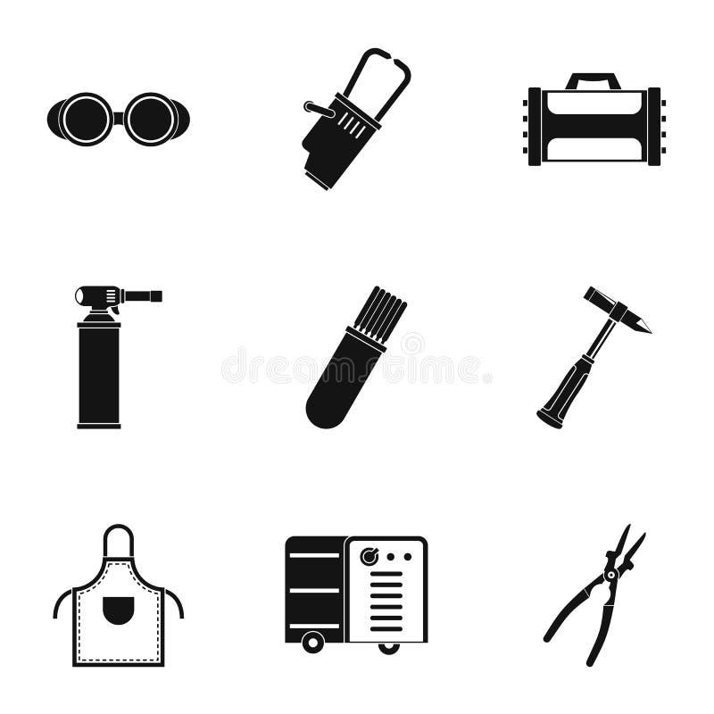 De reeks van het lasserspictogram, eenvoudige stijl vector illustratie