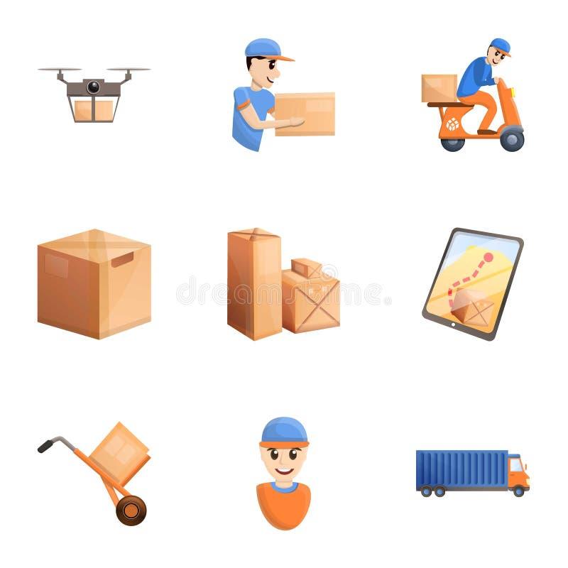 De reeks van het de leveringspictogram van het pakhuispakket, beeldverhaalstijl royalty-vrije illustratie