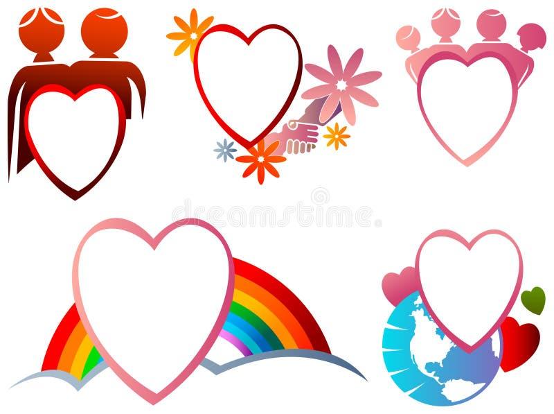 De reeks van het liefdekader stock illustratie