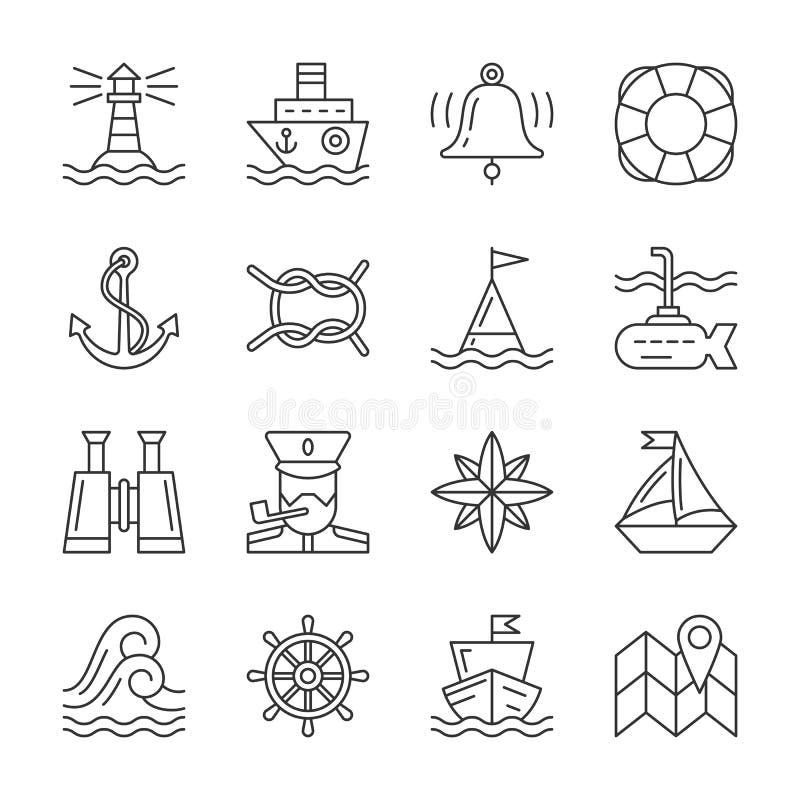De reeks van het de lijnpictogram van Marine Nautical van de Editableslag vector illustratie