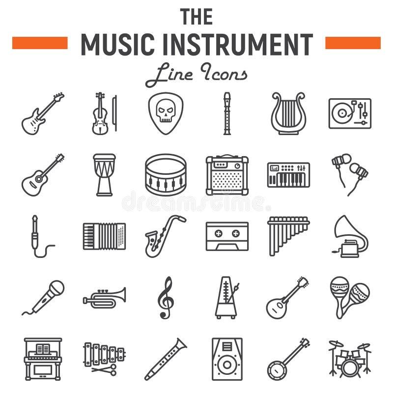 De reeks van het de lijnpictogram van muziekinstrumenten, audiosymbolen royalty-vrije illustratie