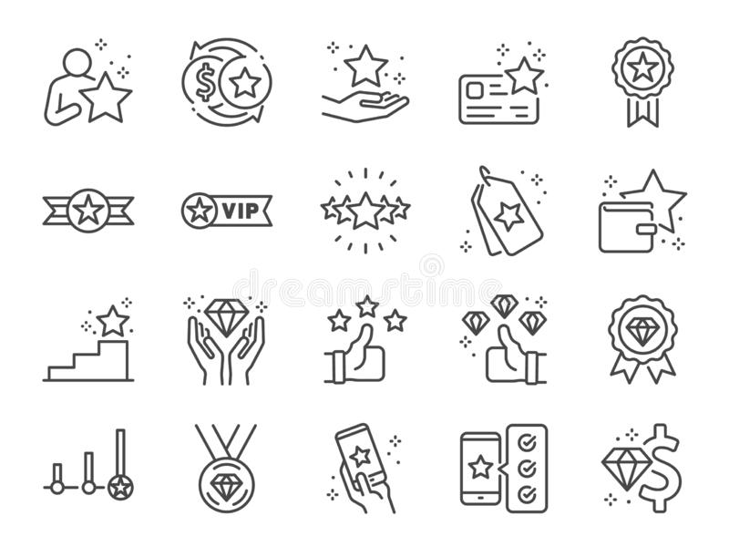 De reeks van het de lijnpictogram van het royaltyprogramma Inbegrepen pictogrammen als lid, VIP, exclusief, diamant, kenteken, ho stock illustratie
