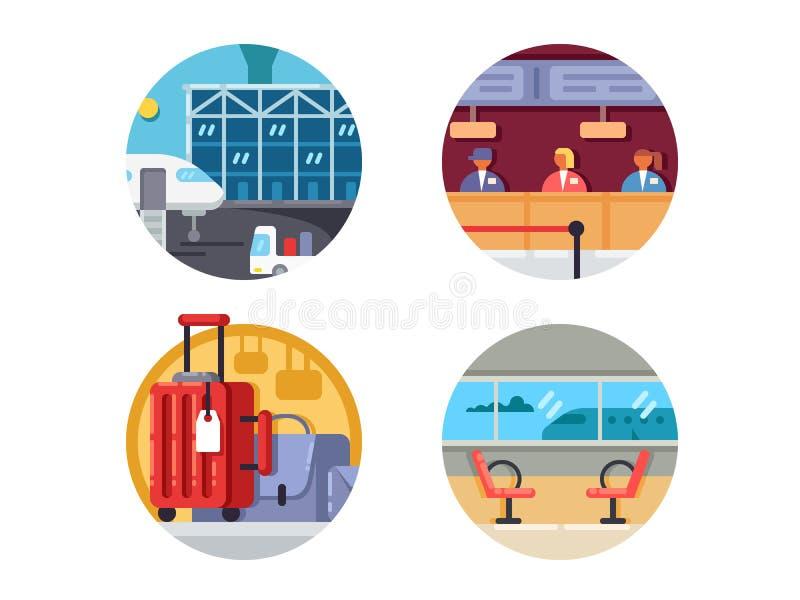 De Reeks van het luchthavenpictogram stock illustratie