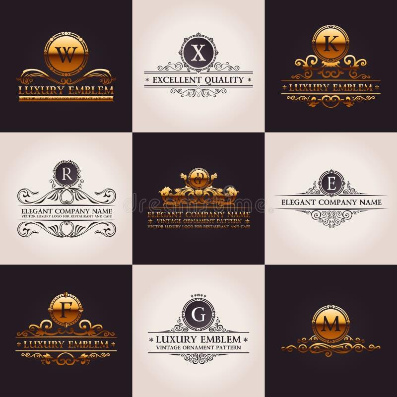 De reeks van het luxeembleem Kalligrafisch elegant patroon stock illustratie