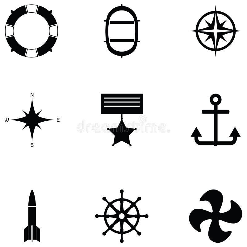 De Reeks van het marinepictogram stock illustratie