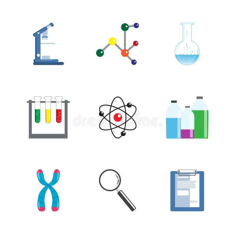 De Reeks van het het Materiaalpictogram van de laboratoriumwetenschap vector illustratie