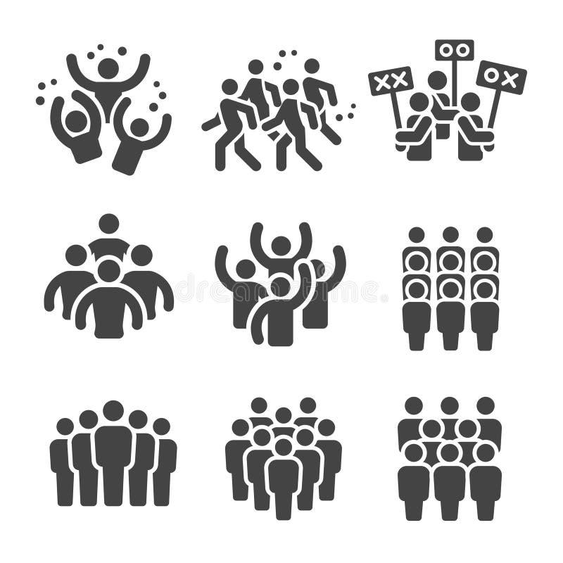De reeks van het menigtepictogram stock illustratie