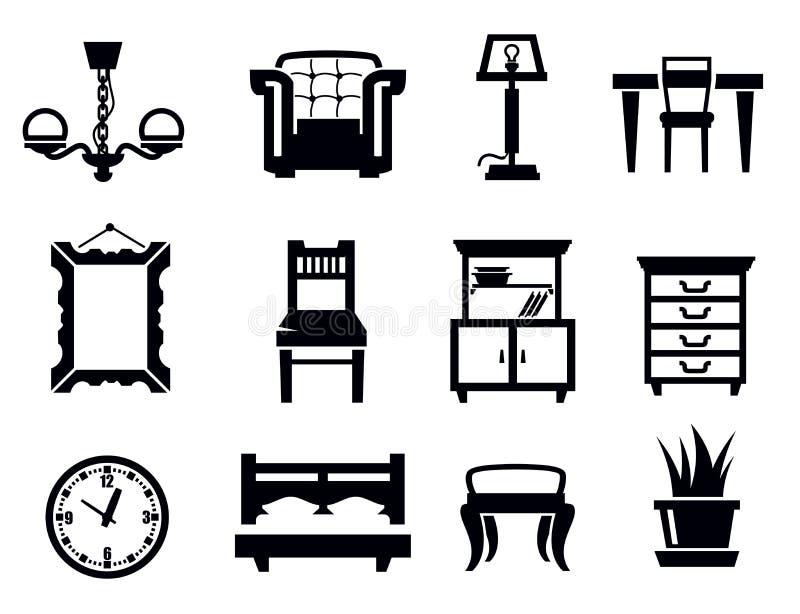 De reeks van het meubilairpictogram royalty-vrije illustratie