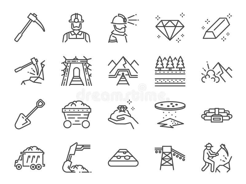 De reeks van het mijnpictogram Omvatte de pictogrammen als mijnbouw, arbeider, arbeid, steenkool, ondergronds, het graven, spoor, royalty-vrije illustratie
