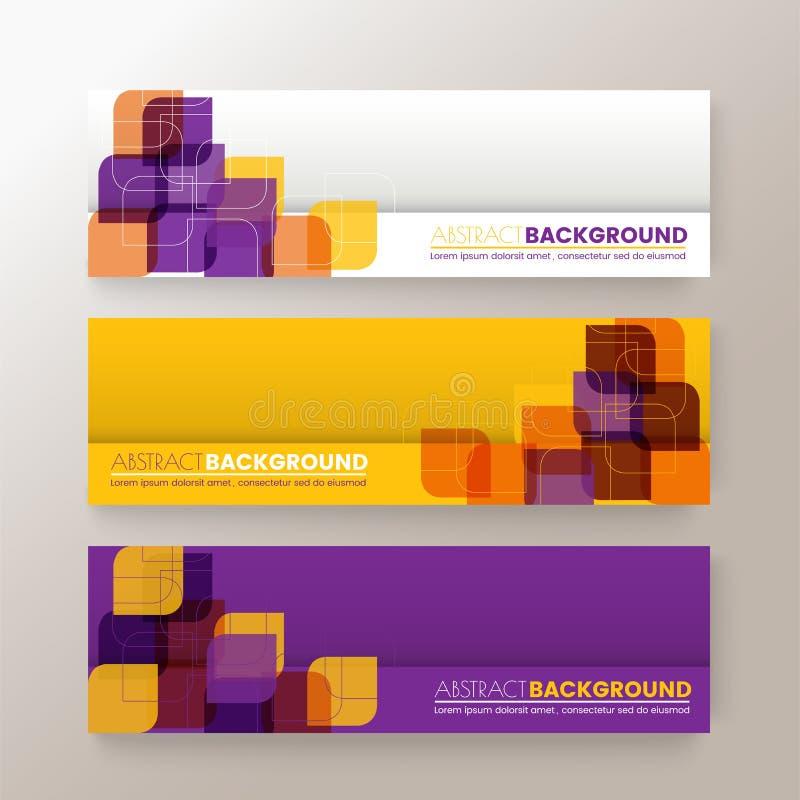 De reeks van het moderne malplaatje van ontwerpbanners met abstracte Kleurrijke vierkanten geeft patroonachtergrond gestalte royalty-vrije illustratie