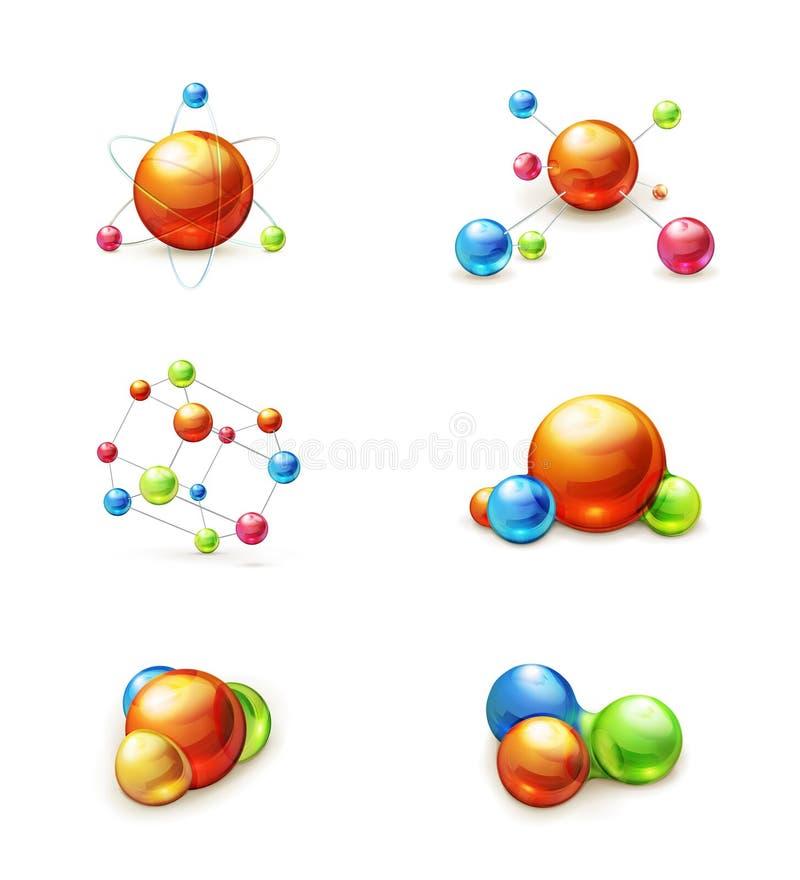 De reeks van het moleculepictogram stock illustratie