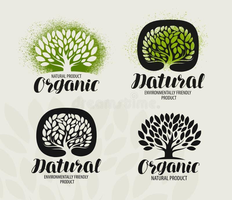 De reeks van het natuurlijke, biologisch productetiket Boom met bladerenpictogram of embleem Het met de hand geschreven van lette royalty-vrije illustratie