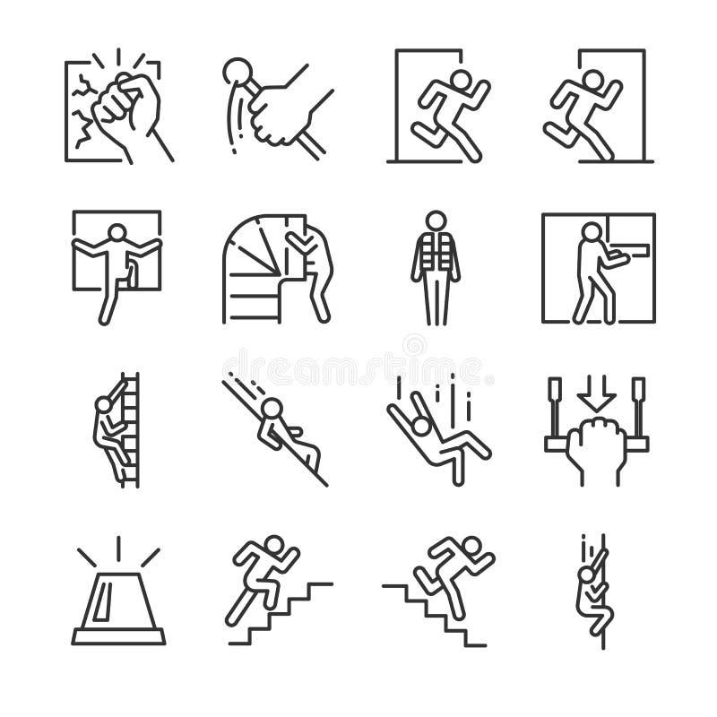 De reeks van het nooduitgangpictogram Omvatte de pictogrammen als evacuatie, looppas, vlucht, alarm, reddingsvest, helling en mee stock illustratie
