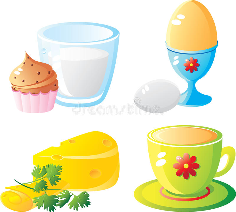 De reeks van het ontbijt vector illustratie
