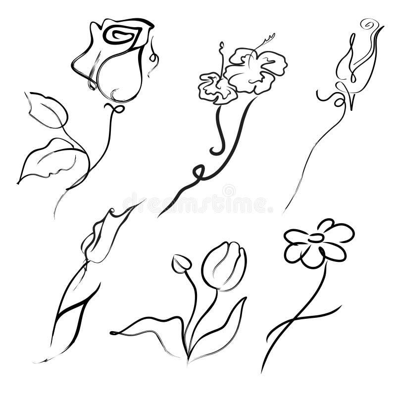 De Reeks van het Ontwerp van bloemen royalty-vrije illustratie
