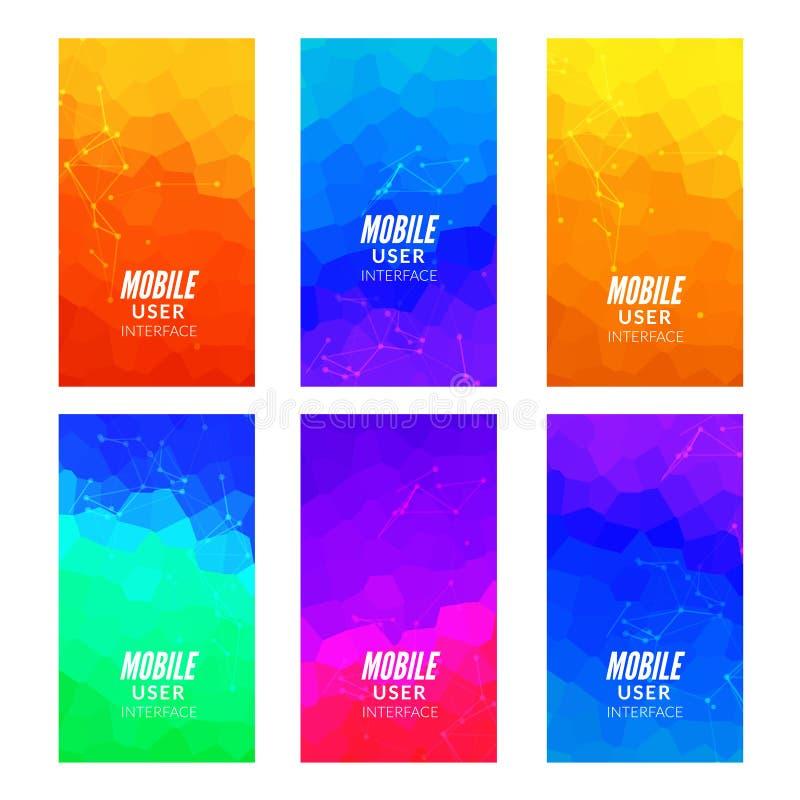 De reeks van het ontwerpmalplaatje Webachtergronden Brochurevlieger De mobiele achtergrond van het technologieconcept Mobiel app  vector illustratie