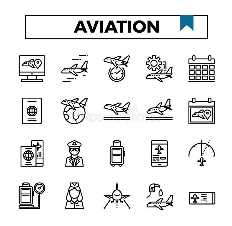 De reeks van het het ontwerppictogram van het luchtvaartoverzicht royalty-vrije illustratie