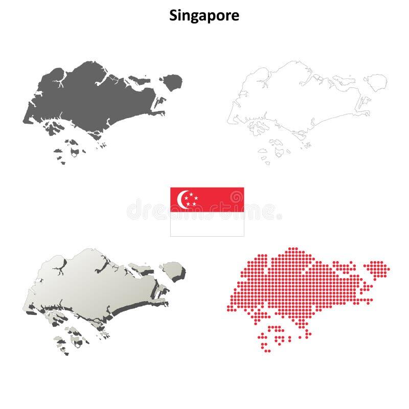 De reeks van de het overzichtskaart van Singapore stock illustratie