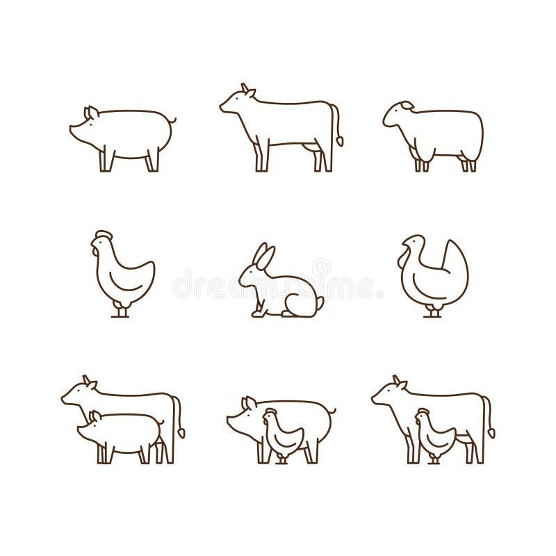 De reeks van het het overzichtspictogram van het landbouwbedrijfdier Varken, koe, lam, kip, Turkije, r vector illustratie