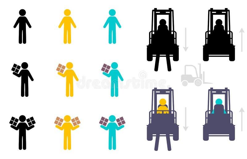 De reeks van het pakhuispictogram vector illustratie