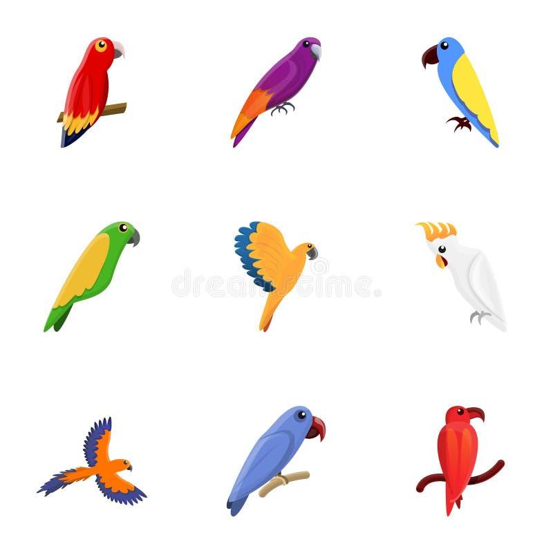 De reeks van het papegaaipictogram, beeldverhaalstijl royalty-vrije illustratie