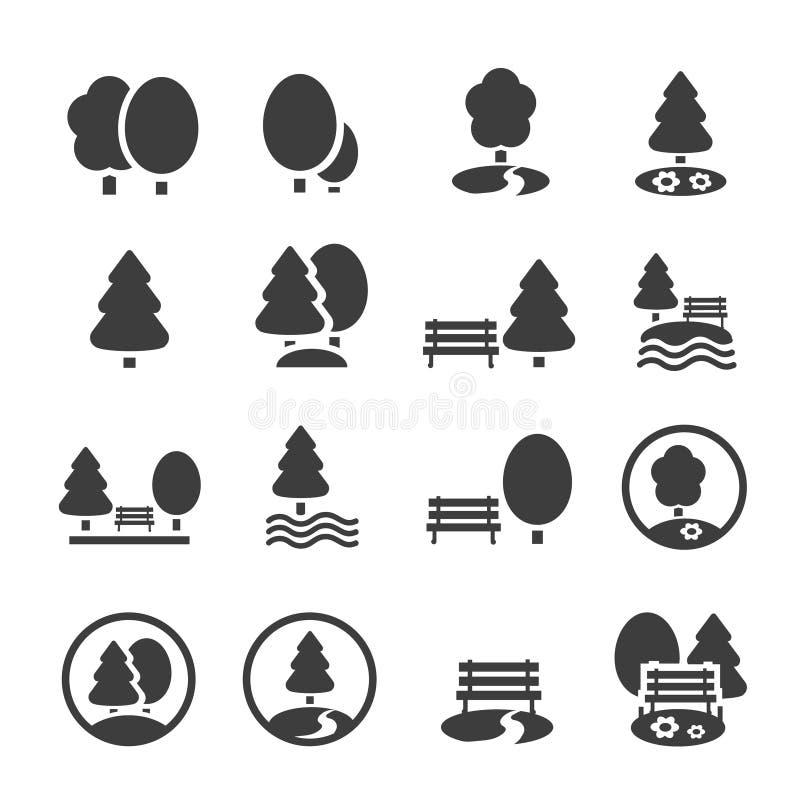 De reeks van het parkpictogram Bomen, bos, vectorpictogrammen vector illustratie