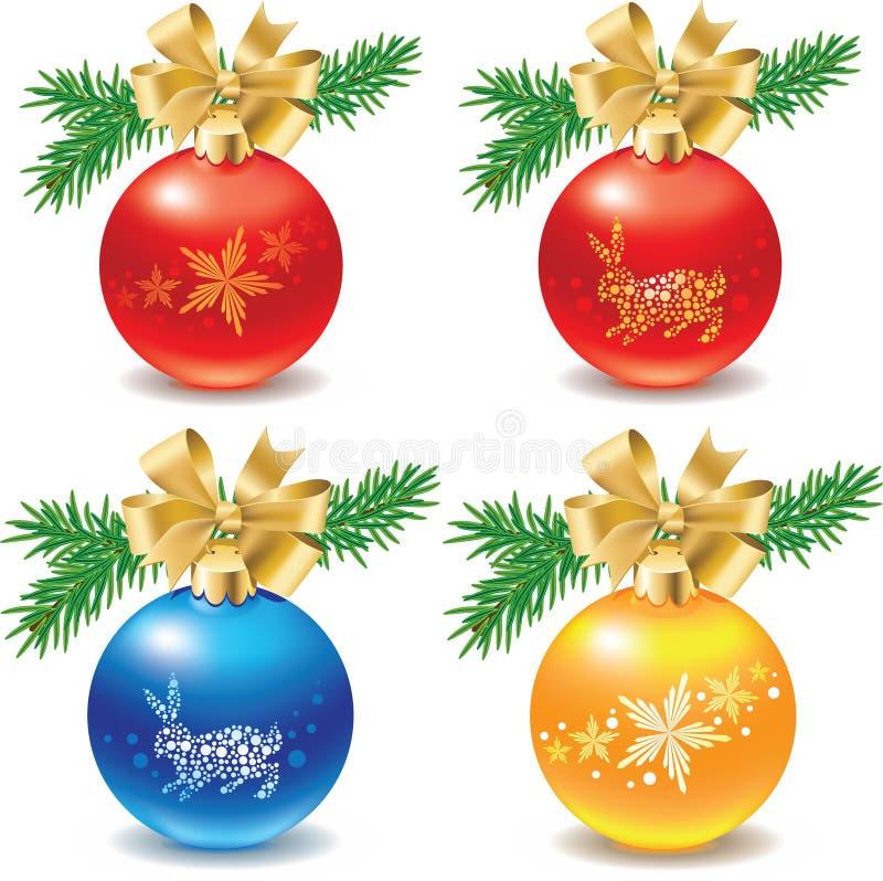 De reeks van het pictogram decoratie van Kerstmisballen vector illustratie