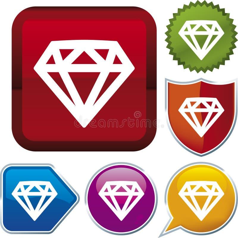 De reeks van het pictogram: diamant vector illustratie