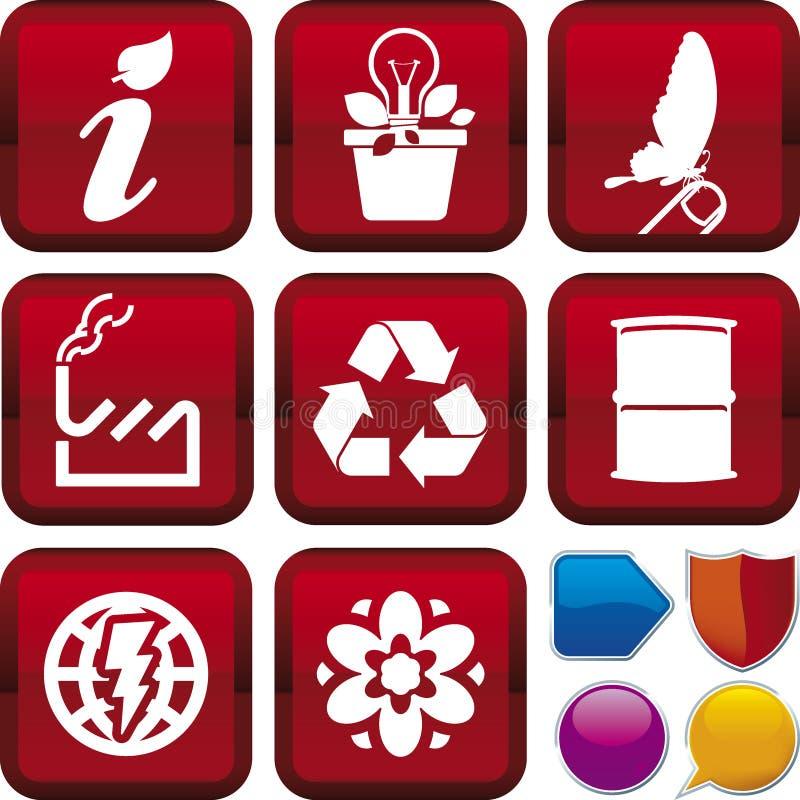 De reeks van het pictogram: ecologie vector illustratie