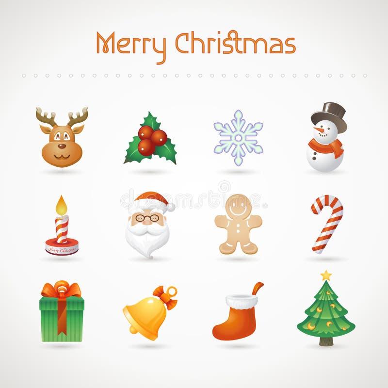 De Reeks van het Pictogram van Kerstmis vector illustratie