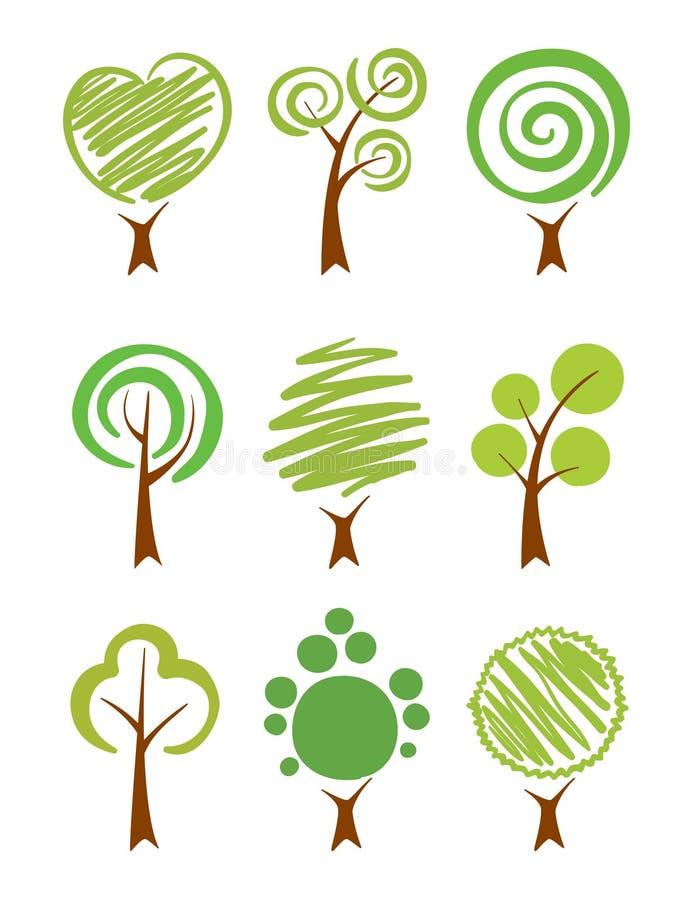 De reeks van het Pictogram van bomen royalty-vrije illustratie