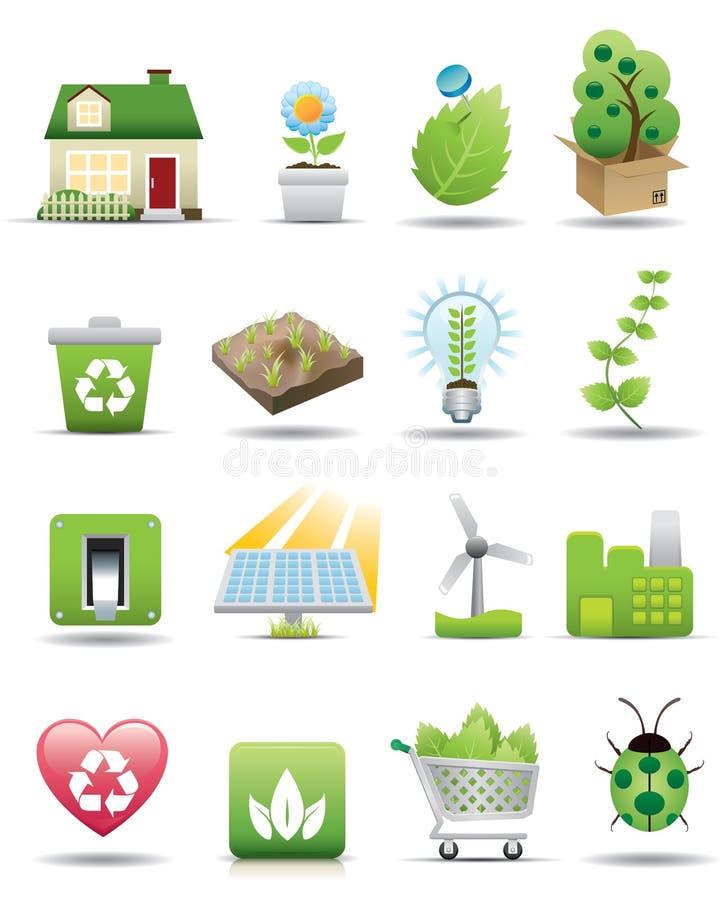 De Reeks van het Pictogram van de Bescherming van het milieu -- De Reeks van de premie vector illustratie