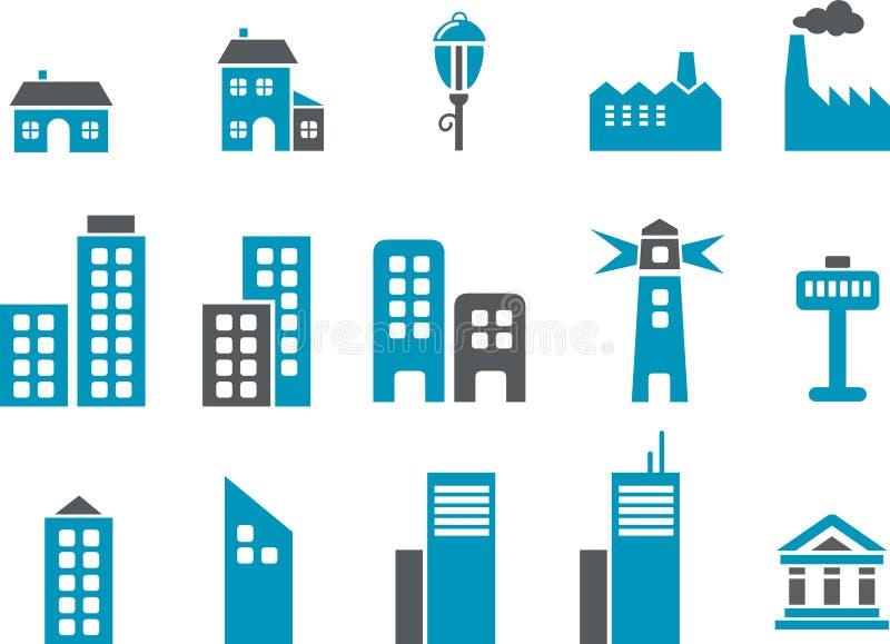 De Reeks van het Pictogram van de stad vector illustratie