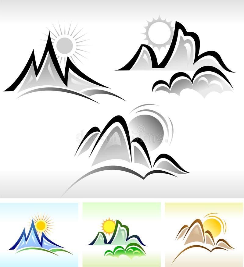 De reeks van het PICTOGRAM van de zon en van de Berg royalty-vrije illustratie