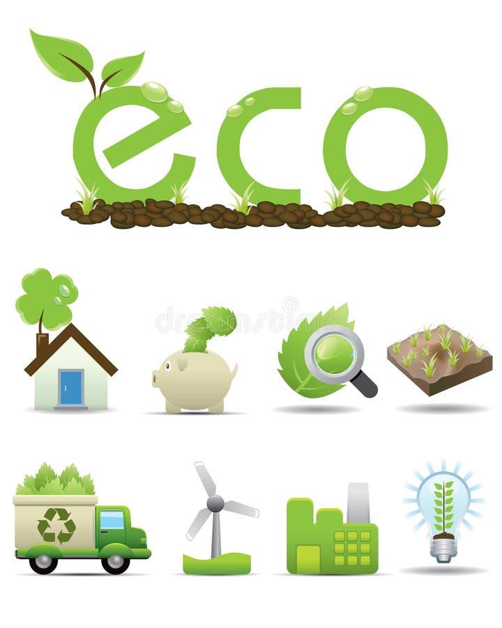 De reeks van het Pictogram van Eco -- vector groen pictogram vector illustratie