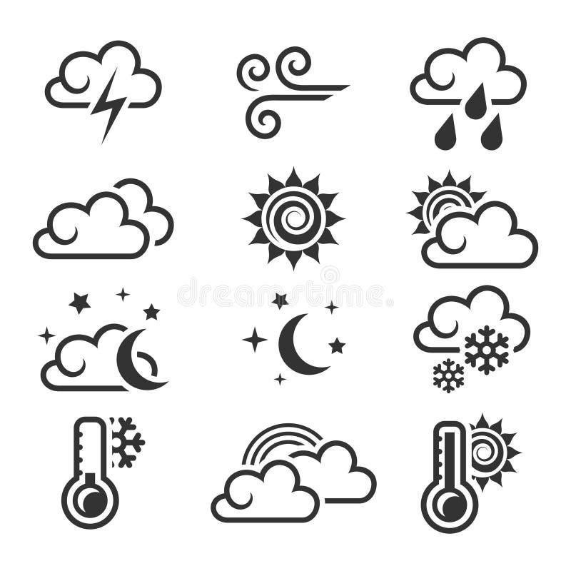 De Reeks van het Pictogram van het weer stock illustratie