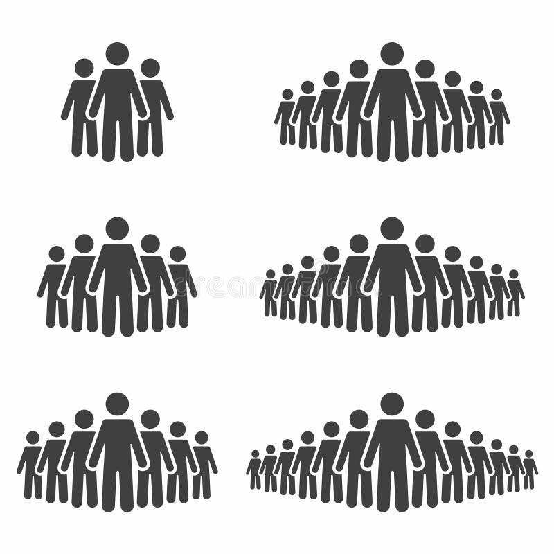 De Reeks van het Pictogram van mensen Stokcijfers, menigtetekens op achtergrond worden geïsoleerd die stock illustratie