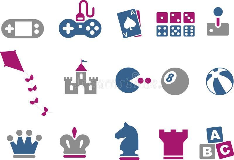 De Reeks van het Pictogram van spelen vector illustratie