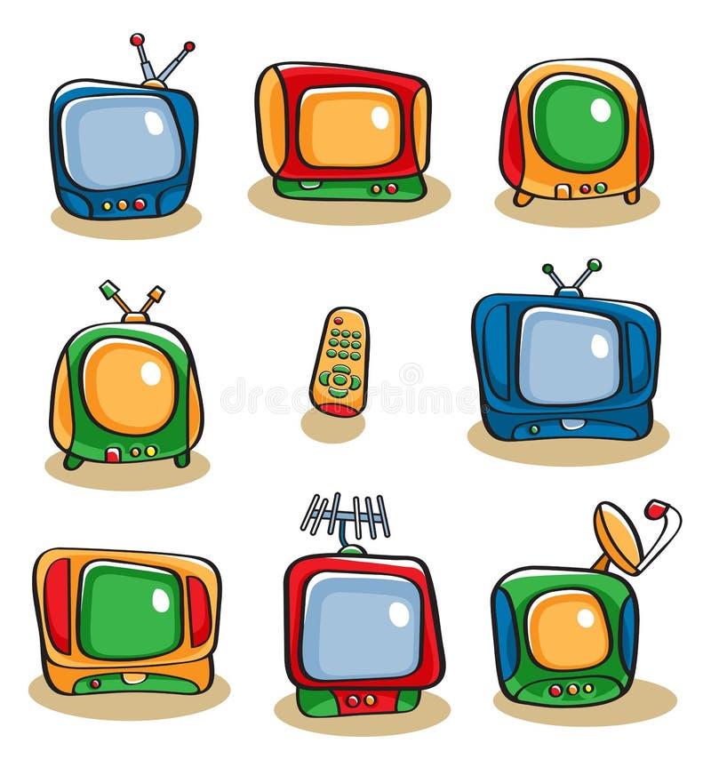 De Reeks van het Pictogram van TV royalty-vrije illustratie