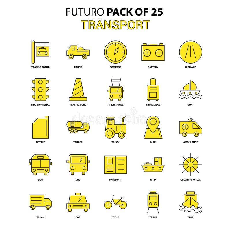 De Reeks van het Pictogram van het vervoer Het gele Pak van het het Ontwerppictogram van Futuro Recentste stock illustratie
