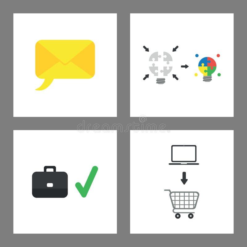 De reeks van het pictogramconcept Envelop met toespraakbel, gloeilampenraadsel die en, aktentas en vinkje, laptop in verbinden gl royalty-vrije illustratie