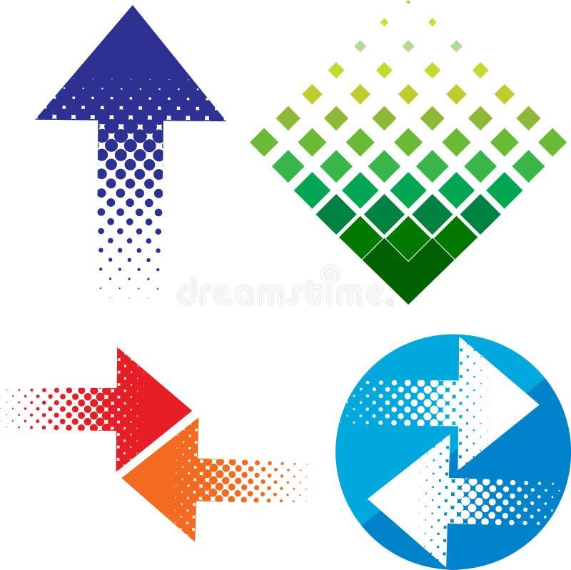De reeks van het pijlembleem vector illustratie