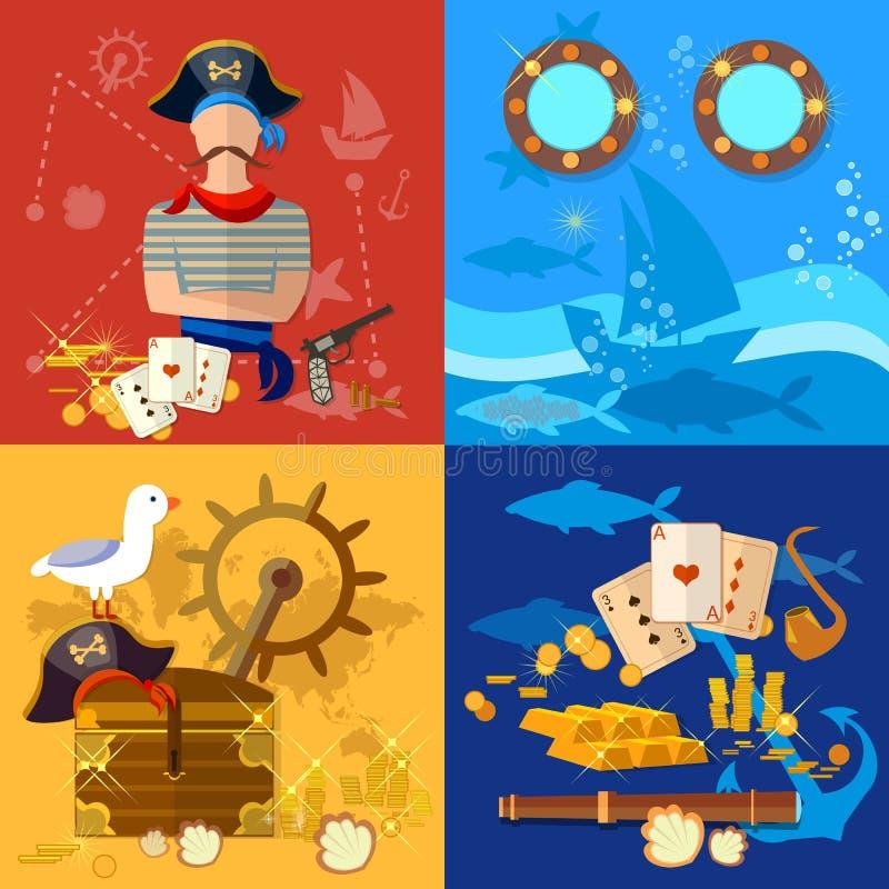 De reeks van het piraatavontuur royalty-vrije illustratie
