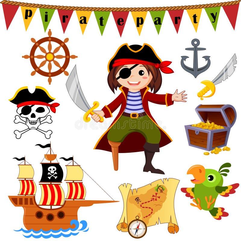 De reeks van het piraatpictogram Piraat, papegaai, schip, sabel, roer, schatborst, anker, heel Roger stock illustratie