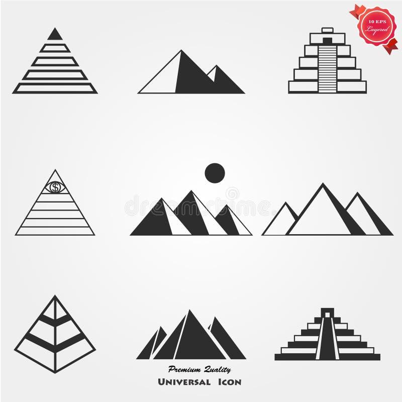 De reeks van het piramidepictogram royalty-vrije illustratie
