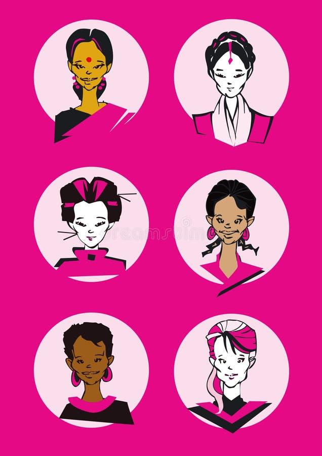 De reeks van het portret - vrouw vector illustratie