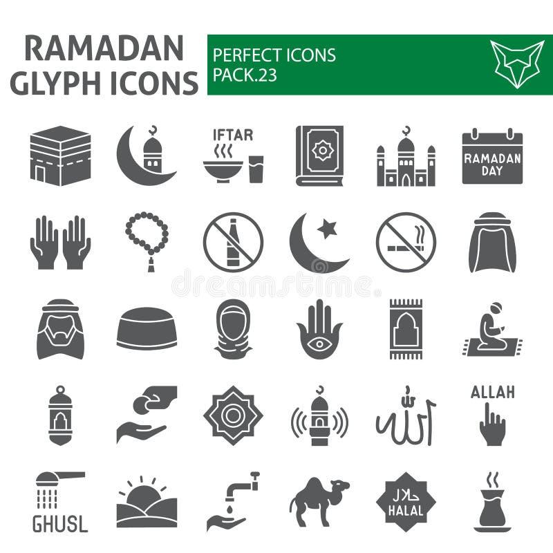 De reeks van het Ramadan glyph pictogram, Islamitische symboleninzameling, vectorschetsen, embleemillustraties, moslim onderteken royalty-vrije illustratie
