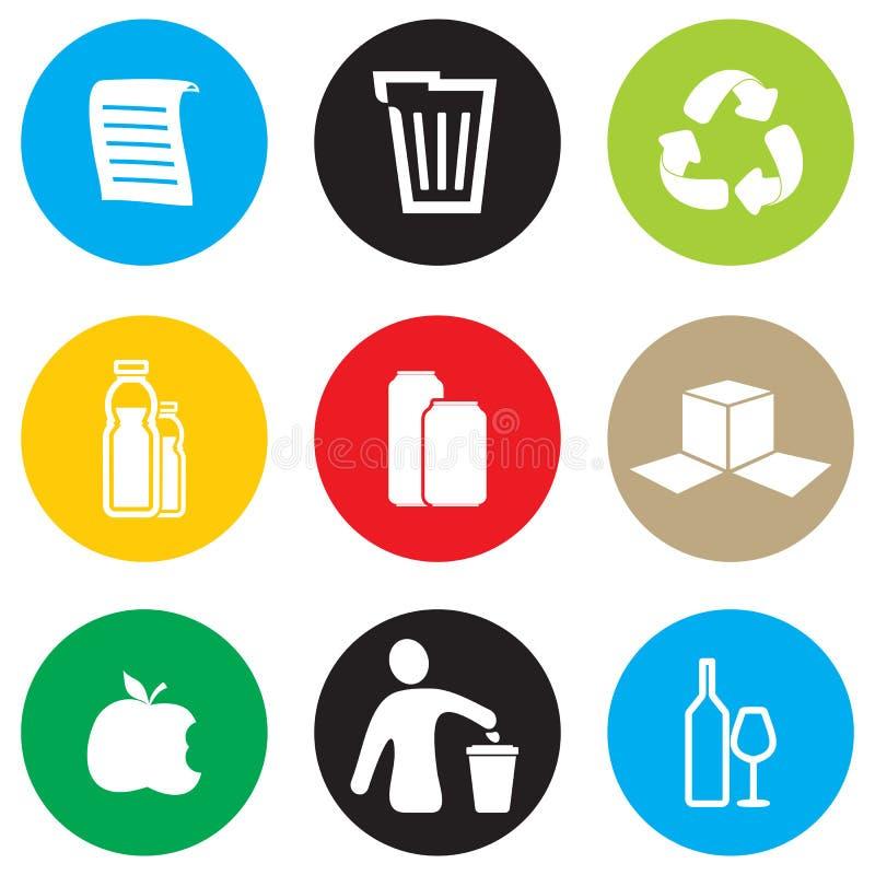 De reeks van het recyclingspictogram stock illustratie