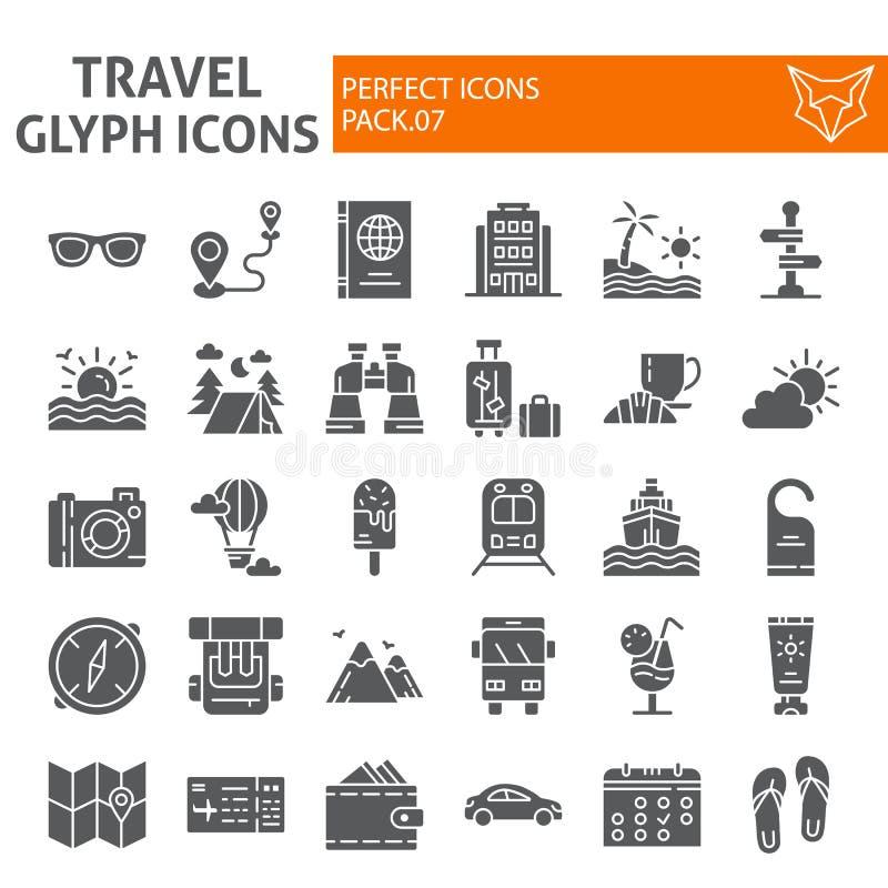 De reeks van het reis glyph pictogram, de inzameling van toerismesymbolen, vectorschetsen, embleemillustraties, vakantie ondertek vector illustratie
